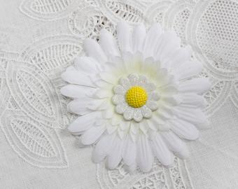 White Daisy Silk Flower Hair Clip with a daisy button center