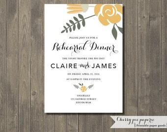 Printable Wedding Rehearsal Dinner Invite - Claire