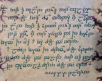 Personalized Elvish Tengwar Handwritten Calligraphy, from The Lord of the Rings