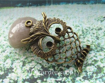 lead and nickel free--- 10pcs 56x37mm antiqued bronze/silver filigree owl zinc alloy charms findings