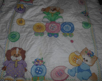 embrodery puppie and kitten baby quilt