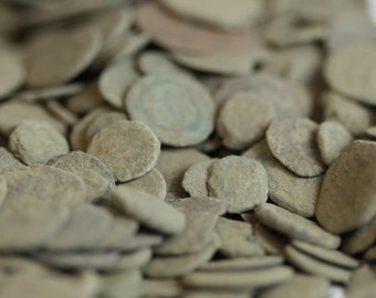 5 unique, ancient, uncleaned, Roman coins with cleaning instructions & Gift bag. Coins are 1000-2000 years old.