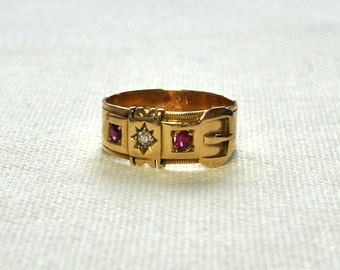 Victorian Ruby & Diamond Buckle Ring