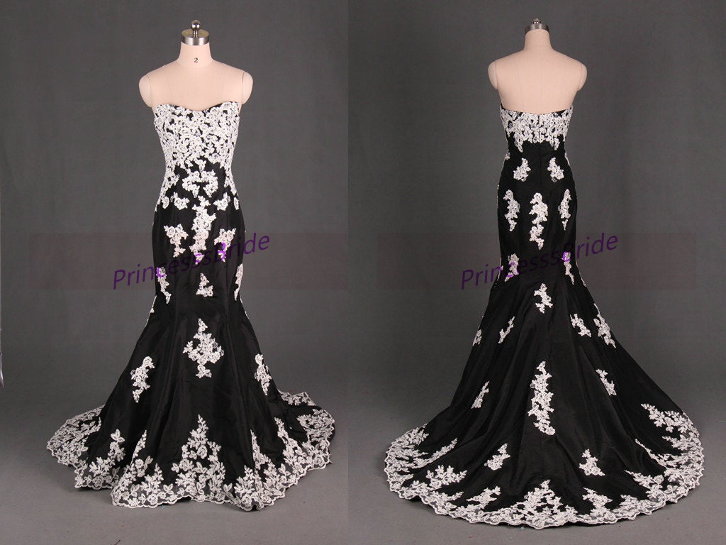 Black taffeta wedding dresses with champagne by PrincesssBride