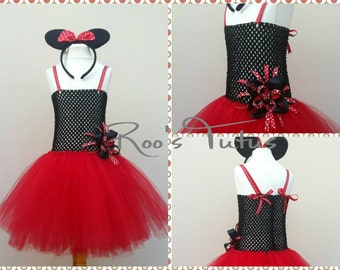 Handmade Disney Red Minnie Mouse inspired Tutu Dress Costume. Party, dress up