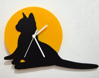 Cat Looking - Black & Yellow Silhouette - Wall Clock