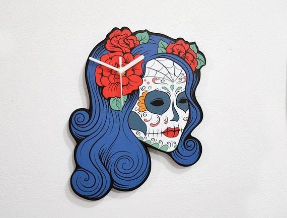 Sugar Skull Catrina Calavera Blue Hair - Wall Clock