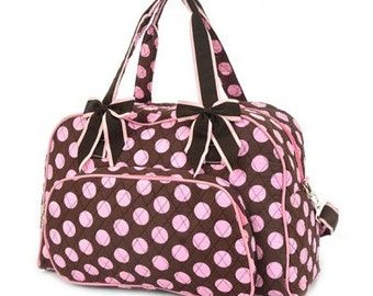Personalized Quilted Polka Dot 20 in Duffle Bag / Double Strap Brown/Pink with FREE Personalization & FREE SHIPPING LPDQ2731-brpk