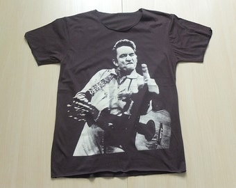Johnny Cash Finger Country Rock  T-Shirt Low Cut L