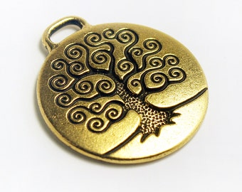 Tree of Life Pendant, Antique Gold Plated, 24mm  Made in USA by Tierracast, #TC114