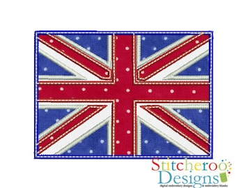 British Flag applique Design -In Hoop sizes 4x4, 5 x 7, 6 inches, 9x9- Instant Download - for Embroidery Machines