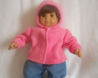 Medium Pink Hooded Fleece Jacket for Bitty Baby, American Girl Doll or any 15 inch or 18 inch Doll