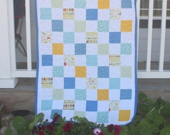 Blue and Yellow Baby Boy Quilt