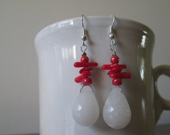 Red Coral and White Quartz Teardrop Earrings