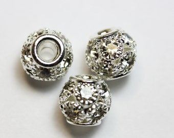 4pcs Jewellery Findings Beads,Clear rhinestone and silver-plated Brass,7.2mm ball ,2mm hole.- MER0067
