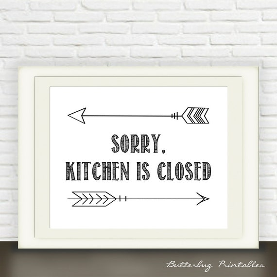 Black And White Kitchen Artwork: Black And White Kitchen Art Printable // By