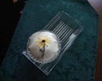 Handcrafted Embroidery Sunflower and Crystal Dresser Tray & Pincushion!