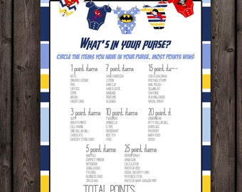 superhero baby shower, whats in your purse game, instant download at purchase, printable file