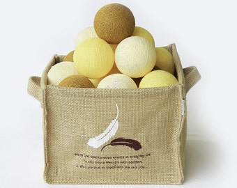 20 Loose Cotton Balls NOT INCLUDE String Lights - Patio Party, Outdoor, Fairy, Wedding Lights - Yellow Gold