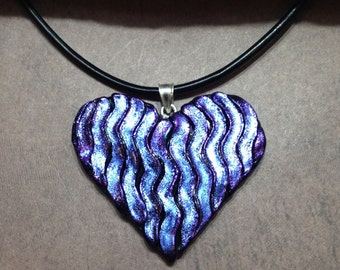 Heart Dichroic Glass Pendant With Genuine Leather Cord Necklace.  GN-47