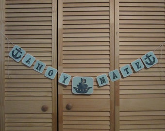 Birthday Pirate Banner, Pirate Ship Banner, Birthday Party Banner, Nursery Banner, Pirate Party Banner, Kids Pirate Party