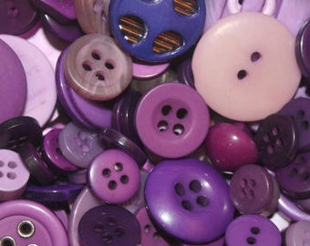 Lilac Wine Button Mix, 50g, mixed buttons, purple buttons, assorted buttons, crafts, sewing, knitting, textile crafts, crochet