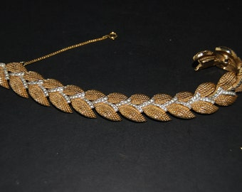 Vintage PANETTA Rhinestone Bracelet in Gold Tone Metal