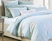 Luxury Bedding Sets of 4pcs - Romantic Summer Aqua Blue Comforter Sets - Queen - California King - Fitted Sheet - Sham Sheet - Cushion Cover
