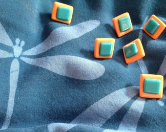 Fused glass buttons, set of 6