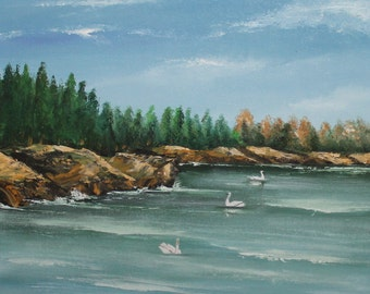 Landscape oil painting lake swans signed