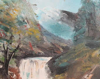 Landscape Waterfall Vintage Impressionist Oil Painting