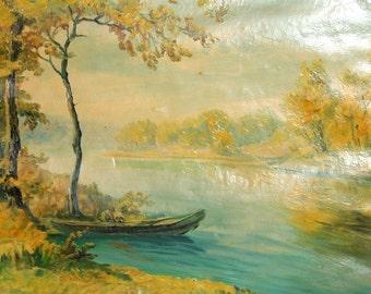 Antique oil painting impressionist river scene