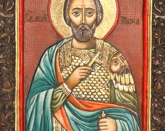 Hand Made Embossed Wood Relief Saint Menas Orthodox Icon