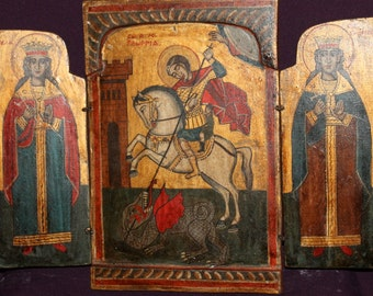 Vintage Hand painted icon tryptich St George, St Catherine