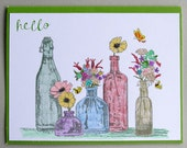Hello card with colorful bottles
