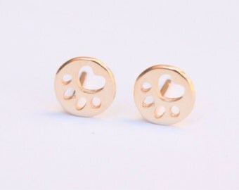 Gold Stud Earrings, dog paw studs, 14K gold filled Studs, tiny dog paw posts, gold dog paw