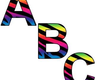 Rainbow Zebra Print Alphabet Clipart