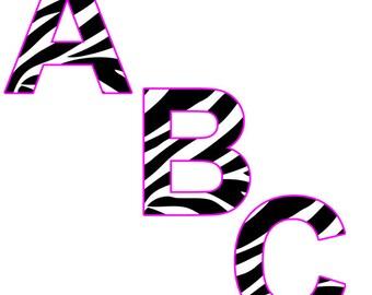Zebra Print Alphabet Clip art with Pink Trim