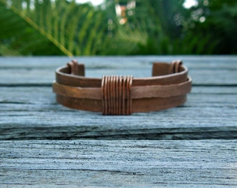 """Copper Embellished Cuff """"The Saturn"""" (hammered)"""