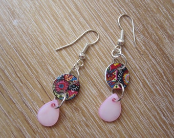 Jazzy button and pearly pink tear drop shrink plastic earrings