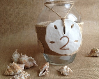 Beach wedding table numbers, sand dollar table number
