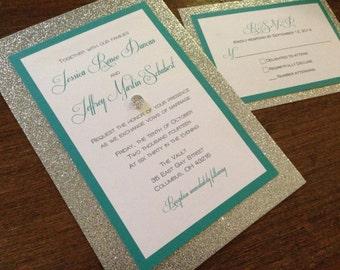 Silver Wedding Invitation Set,Bling Wedding Invitation,Glitter Wedding Invitation,Elegant Wedding Invitation,Classy Wedding Invitation