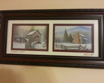 This lithograph is from Randll Ogle. There are two beautiful scenes showing an old grist mill and a cabin in the snow.