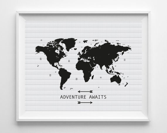 printable world map art print adventure awaits. Black Bedroom Furniture Sets. Home Design Ideas