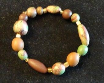 Mossy earth clay bracelet
