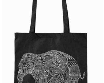 Jutebeutel schwarz  Elefant