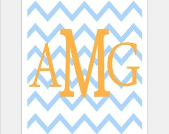 Monogrammed Letter or Customized Initial - 8x10 print - Choose Letters and Colours - Chevron Design Pattern - Orange Blue Girl Wall Letters