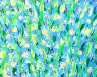 Original Miniature Painting of Blues and Green