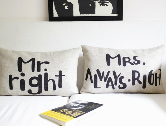 cotton linen Fabrics pillow sham mr right, mrs always right printed Pillow Cover pillow pattern cushion cover Valentine's Day Gift