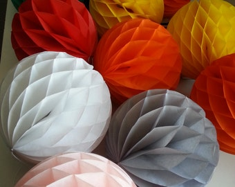 "8"" tissue paper pom pom HONEYCOMB BALLS /party /birthday /wedding / decoration/ 10 colors"